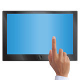 Hand pointing on touch screen tablet  Stock Photos