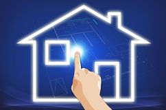 Hand Pointing Touching House Royalty Free Stock Photo