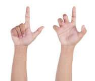 Hand pointing, touching or pressing Stock Photos