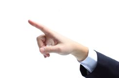 Hand pointing, touching or pressing isolated Royalty Free Stock Photo