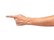 Hand pointing touching or pressing on white background Royalty Free Stock Image