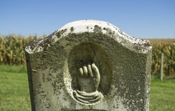 Hand Pointing Up Tombstone in Pioneer Cemetery Royalty Free Stock Photography