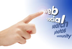 Hand pointing into the web Royalty Free Stock Photos