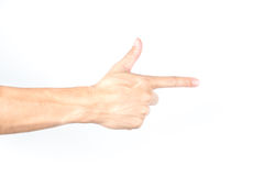 Hand pointing on white isolated background.  Stock Photo