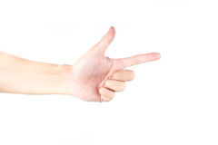 Hand pointing on white isolated background Royalty Free Stock Photo