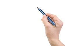 Hand points out and pen Stock Photo