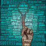 Hand points to drawing light bulb Royalty Free Stock Image