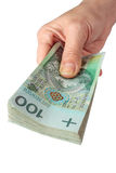 Hand with polish money Royalty Free Stock Photos