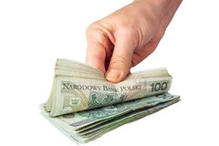 Hand with polish money Stock Image