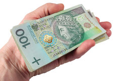 Hand with polish money Stock Images