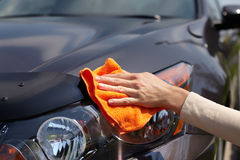 Hand polishing car. Stock Image