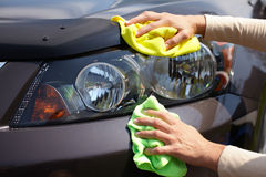 Hand polishing car. Stock Photography