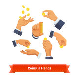Hand poses counting, giving, throwing coins. Hand poses counting, giving, putting, throwing, and showing coins and stack. Flat style illustration. EPS 10 vector Stock Images