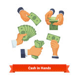 Hand poses counting, taking and showing green cash. Hand poses counting, giving, taking, squeezing and showing green cash. Flat style illustration. EPS 10 vector royalty free illustration