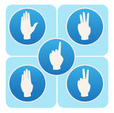 Hand poses in round icons counting from one to five Royalty Free Stock Photos