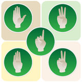Hand poses in round icons counting from one to five Stock Photography