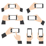 Hand position holding mobile phone. Vector illustration of hand position holding mobile phone Stock Illustration