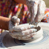 Hand on a potter wheel Stock Image