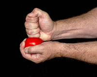 Hand pounds on a stress ball Royalty Free Stock Photo