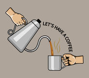 Hand Pouring Coffee Stock Images