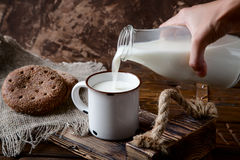 Hand pouring milk from bottle in a cup stock image