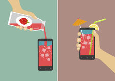 Hand pours juice into smartphone and holding it with ice cubes, umbrella and stick. Flat vector illustration Stock Image