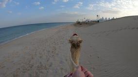 Hand POV die een kameel berijden