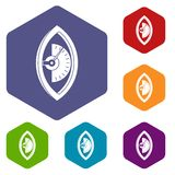 Hand power meter icons set hexagon Royalty Free Stock Photography