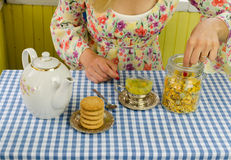 Hand prepare marigold herb tea Royalty Free Stock Photos