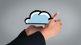 Hand presenting appearing and disappearing cloud Royalty Free Stock Photography