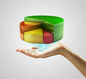 Hand presenting a pie chart button Royalty Free Stock Images