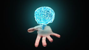 Hand presenting a spinning brain stock footage
