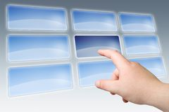 Hand press on blank touch screen Stock Image