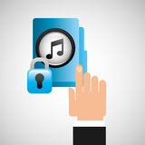 Hand press folder file music security Stock Image