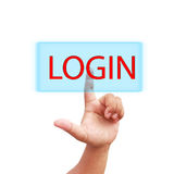 Hand press on login icon Stock Image