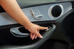 Hand Press On Car Windows Control Royalty Free Stock Photo