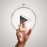 Hand press play button sign to start royalty free stock images
