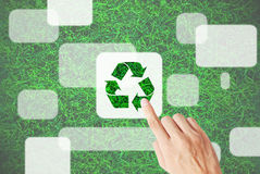 Hand press recycle map Stock Image