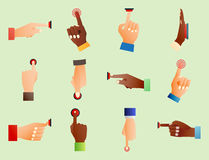 Hand press red button finger press control push pointer gesture human body part vector illustration. Hand press red button finger press icon control start up Stock Images