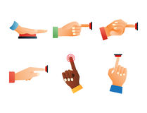 Hand press red button finger press control push pointer gesture human body part vector illustration. Royalty Free Stock Images