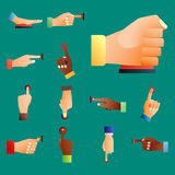 Hand press red button finger press control push pointer gesture human body part vector illustration. Royalty Free Stock Photos