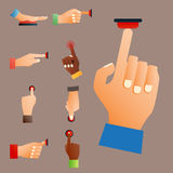 Hand press red button finger press control push pointer gesture human body part vector illustration. Hand press red button finger press icon control start up Royalty Free Stock Photography