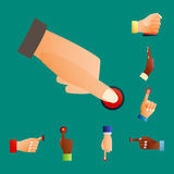 Hand press red button finger press control push pointer gesture human body part vector illustration. Hand press red button finger press icon control start up Royalty Free Stock Image