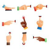 Hand press red button finger press control push pointer gesture human body part vector illustration. Stock Photography