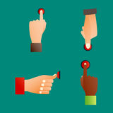 Hand press red button finger press control push pointer gesture human body part vector illustration. Hand press red button finger press icon control start up Royalty Free Stock Photo