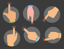 Hand press red button vector finger control start up arm push pointer cursor target gesture internet human body part. Illustration. Touch concept hand press Royalty Free Stock Photo