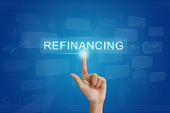 Hand press on refinancing button on touch screen Stock Images