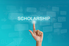 Hand press on scholarship button on touch screen. Hand press on scholarship button on virtual screen stock image