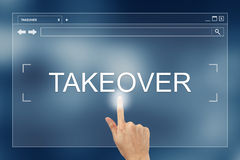 Hand press on takeover button on website Royalty Free Stock Photo