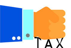 Hand - Press Tax, illustration for tax reduction or tax amnesty Royalty Free Stock Photography
